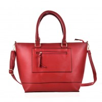 VK6024 Red - Women Simple Solid Patchwork Handbags