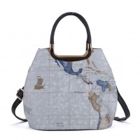 VK8888-10 - Blue Map Tote Bag With Metal Detail