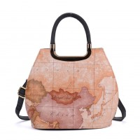 VK8888-12 - Camel Map Tote Bag With Metal Detail