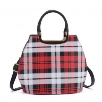 VK8888-30 - Red Check Print Tote Bag With Metal Detail