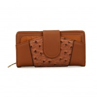 VKP1395 Brown - Rugged Patchwork Rectangle Wallet