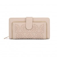 VKP1396-1 Beige - Hollow Flower Pattern Women Wallet