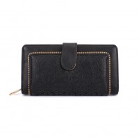VKP1396-1 Black - Hollow Flower Pattern Women Wallet