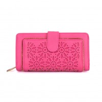 VKP1396-1 Fushia - Hollow Flower Pattern Women Wallet
