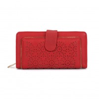 VKP1396-1 Red - Hollow Flower Pattern Women Wallet