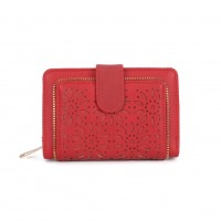 VKP1397-1 Red - Hollow Flowers Pattern Lady Fashion Wallet