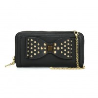 VKP1431-1 Black - Rivet Bow Decoration Metal Chain Wallet