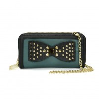 VKP1431-1 Blue - Rivet Bow Decoration Metal Chain Wallet