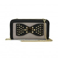 VKP1431-1 Grey - Rivet Bow Decoration Metal Chain Wallet