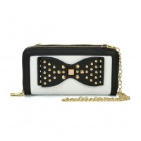 VKP1431-1 White - Rivet Bow Decoration Metal Chain Wallet