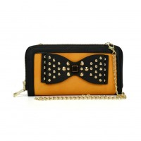 VKP1431-1 Yellow - Rivet Bow Decoration Metal Chain Wallet