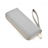 VKP1432 Grey - Women Simple Solid Straps Purse