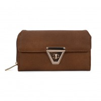 VKP1433 Brown - Women Fashion Metal Button Long Wallet