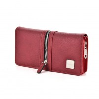 VKP1437 Red - Zipper Decoration Women Solid Purse