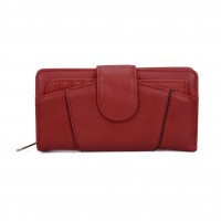 VKP1439 Red - Women Patchwork Hasp Solid Long Wallet
