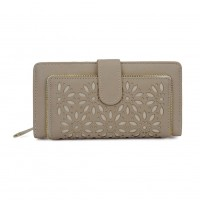 VKP1449 Beige - Hollow Flower Pattern Women Wallet