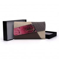 VKP1455 Grey - Patchwork Snakeskin Women Hasp Fashion Wallet