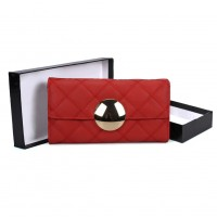 VKP1459 Red - Fashion Women Plaid Casual Solid Wallet