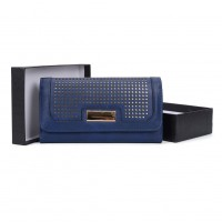 VKP1468 Blue - Women Perforated Foldover Wallet