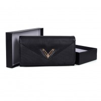 VKP1472 Black - Patchwork Purse With Metal Bar