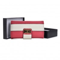 VKP1476 Fushia - New Contrast Large Purse With Lock Detail