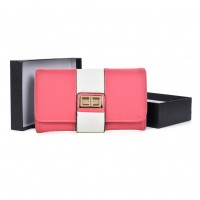 VKP1481 Fushia - New Contrast Large Purse With Lock Detail