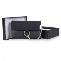 VKP1485 Black - Suede Purse With Ring Detail Chain