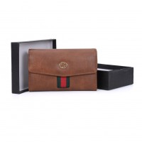 VKP1491 Brown - Fashion Women Patchwork Solid Wallet