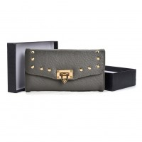 VKP1497 Grey - Studded Cash Purse With Lock Decoration