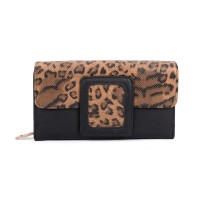VKP1524 Black - Ladies Leopard Long Coin Purses Holders