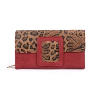 VKP1524 Red - Ladies Leopard Long Coin Purses Holders