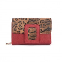 VKP1525 Red - Ladies Leopard Short Coin Purses Holders