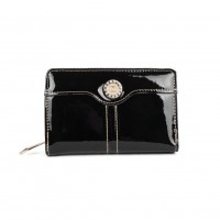 VKP1527 Black - Rhinestone Detail Small Purse In Patent