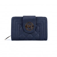 VKP1539 Blue - Quilted Metail Detail Trim Small Purse