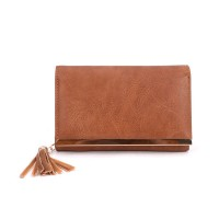 VKP1543 Brown - Metal Short Coin Purse Clutch Bags With Tassels