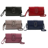 VKP1549 Assort Color 10pcs - Flap Wristlet Clutch Bag With Metal Detail