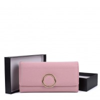 VKP1559 Pink - Women Foldover Purse With Iron Ring Detail