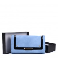 VKP1562 Blue - Fashion Long Purse With Metal