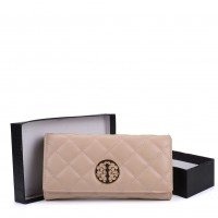 VKP1563 Beige - Quilted Purse With Metal Detail