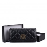 VKP1563 Black - Quilted Purse With Metal Detail