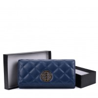 VKP1563 Navy - Quilted Purse With Metal Detail