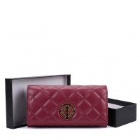 VKP1563 Purplish Red - Quilted Purse With Metal Detail