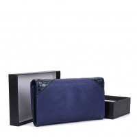 VKP1564 Navy - Mixed Texture Cutabout Panel Purse