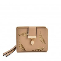 VKP1576 Beige - Short Wallet With Leaves Design