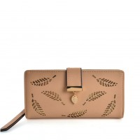 VKP1577 Beige - Long Wallet With Leaves Design