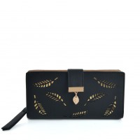 VKP1577 Black - Long Wallet With Leaves Design