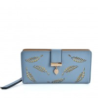 VKP1577 Blue - Long Wallet With Leaves Design