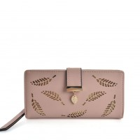 VKP1577 Pink - Long Wallet With Leaves Design