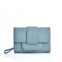 VKP1579 Blue - Short Litchi Grain Wallet With Buckle Detail