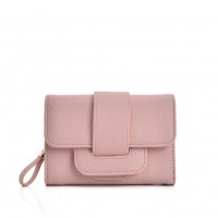 VKP1579 Pink - Short Litchi Grain Wallet With Buckle Detail